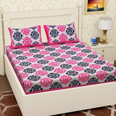 2057 - RJ-14  Double Bedsheets With Two Pillow Cover