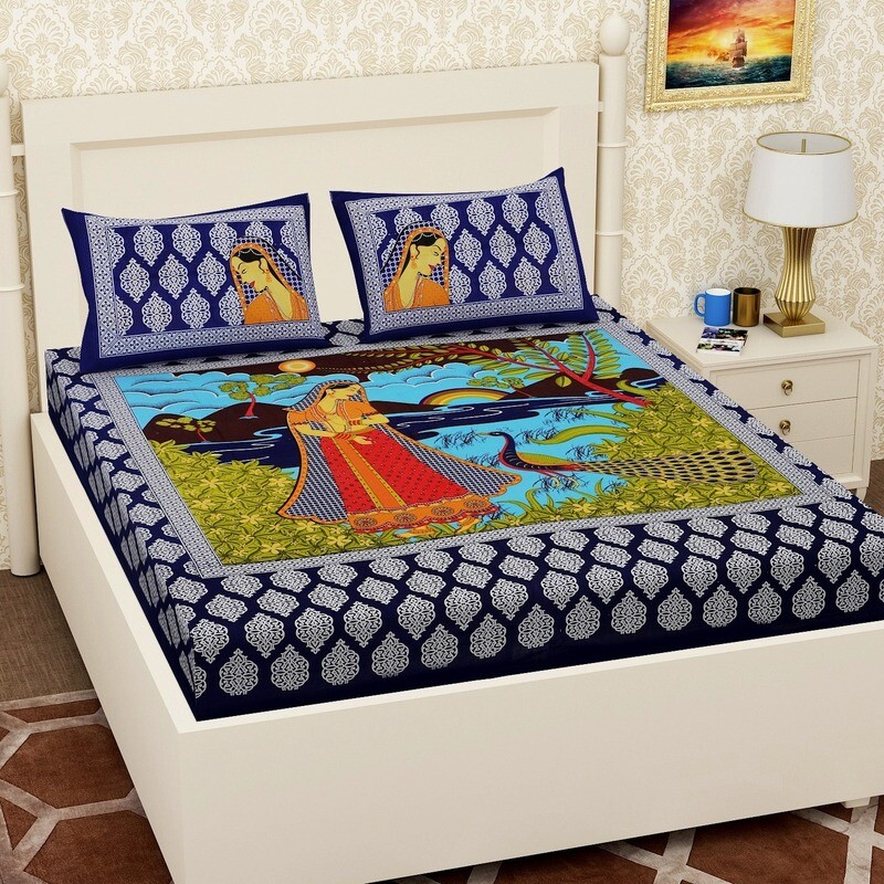 2058  RJ-14 Double Bedsheets With Two Pillow Cover