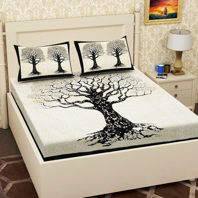 2059 RJ-14   Double Bedsheets With Two Pillow Cover
