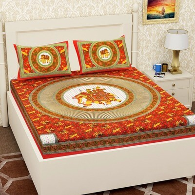 2060 RJ-14  Double Bedsheets With Two Pillow Cover