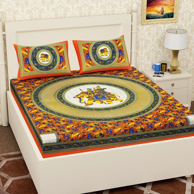 2061 RJ-14  Double Bedsheets With Two Pillow Cover