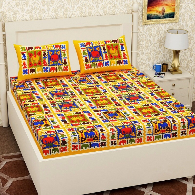 2066 RJ-14 Double Bedsheets With Two Pillow Cover