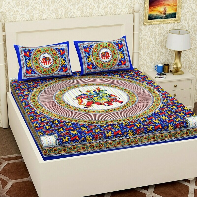 2062  RJ-14Double Bedsheets With Two Pillow Cover