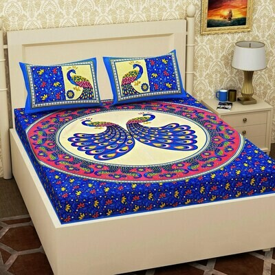 2063 RJ-14  Double Bedsheets With Two Pillow Cover