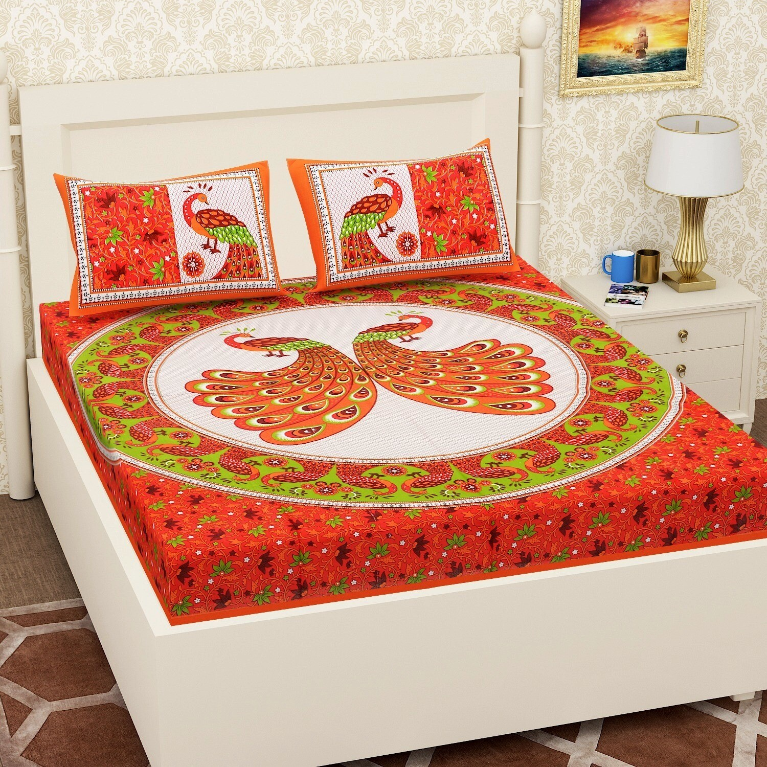 2064 RJ-14 Double Bedsheets With Two Pillow Cover
