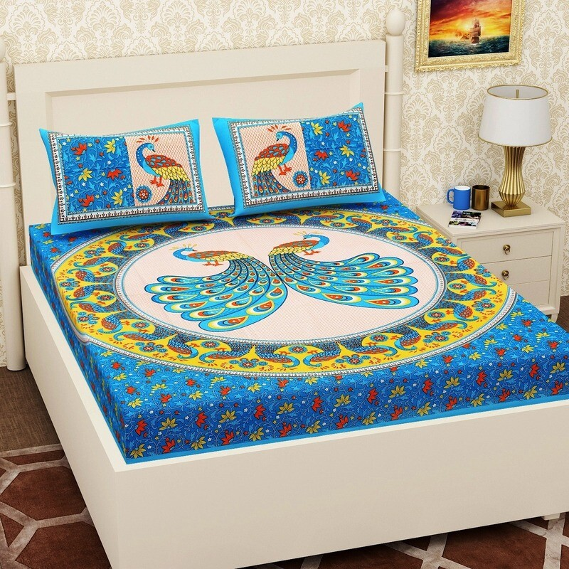 2065 RJ-14  Double Bedsheets With Two Pillow Cover