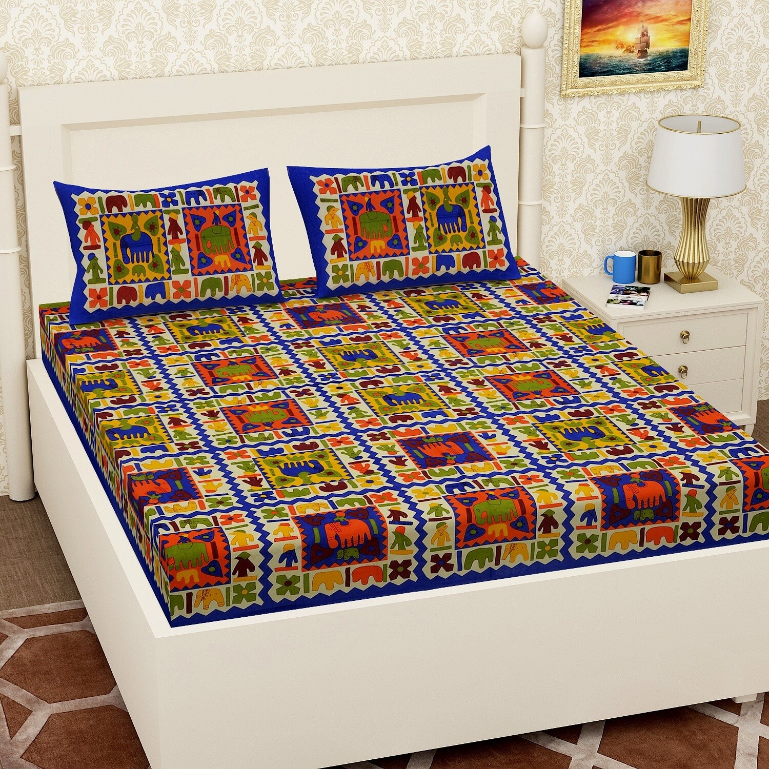2067 RJ-14 Double Bedsheets With Two Pillow Cover