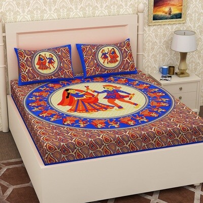 2068 RJ-14  Double Bedsheets With Two Pillow Cover
