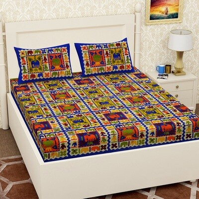 2069 RJ-14 Double Bedsheets With Two Pillow Cover