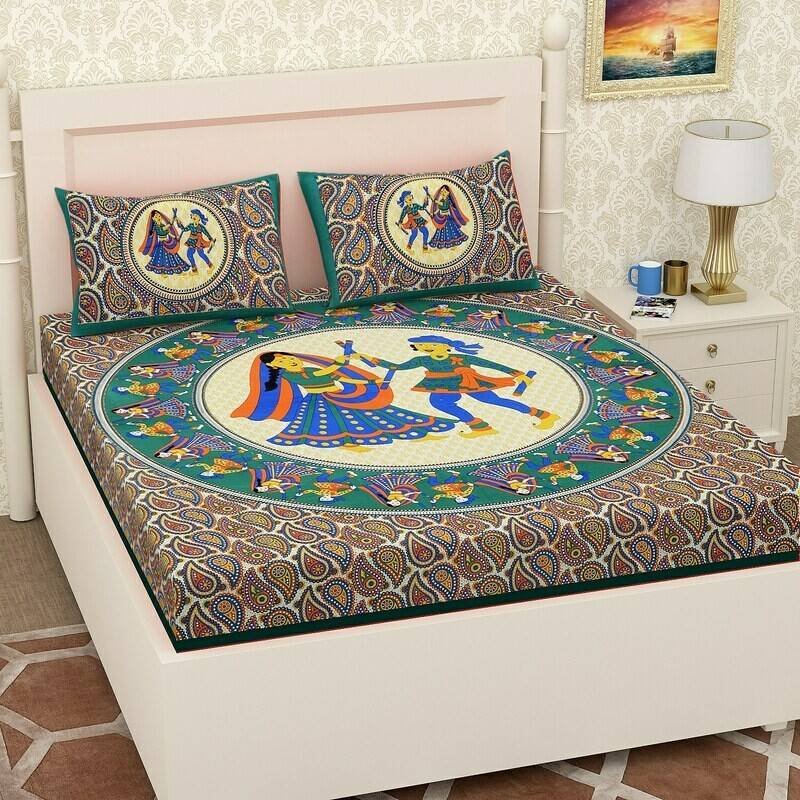 2070 RJ-14  Double Bedsheets With Two Pillow Cover