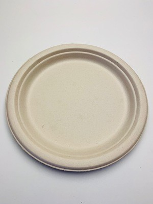 Bagasse bord bruin rond 18cm, verpakt per 50 stuks