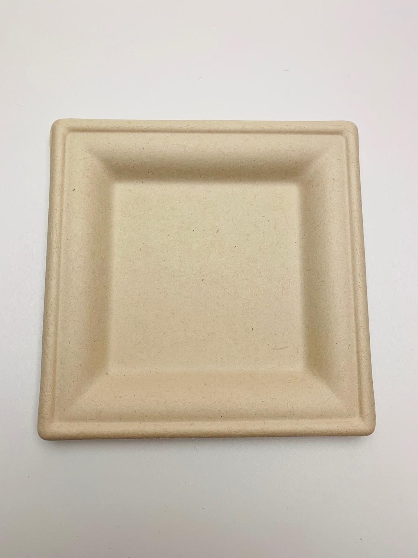 Bagasse bord bruin vierkant 20x20cm, verpakt per 50 stuks