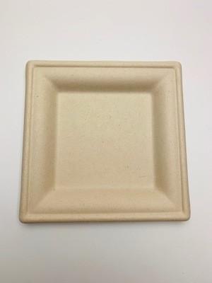 Bagasse bord bruin vierkant 16x16cm, verpakt per 50 stuks