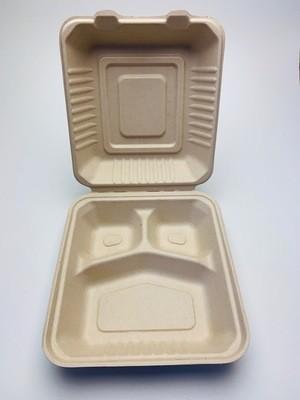 3-vaks menubox bruin 20x22x7cm, verpakt per 200 stuks