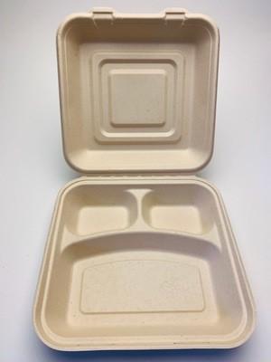 3-vaks menubox bruin 25x25x8cm, verpakt per 200 stuks