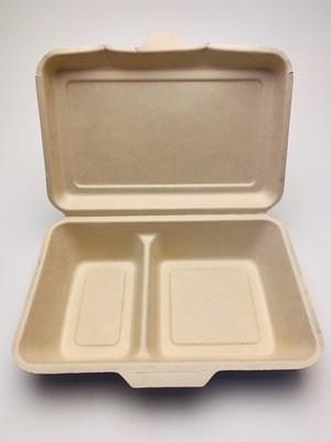2-vaks menubox bruin 235x195x75mm, verpakt per 125 stuks