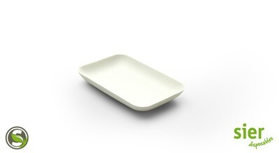 Bagastro bord rechthoekig 12x8cm, 40 stuks