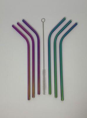 RVS multicolour herbruikbare rietjes