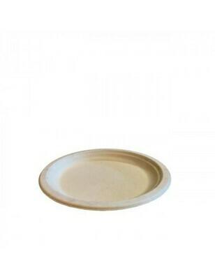 Bagasse bord 18cm Ø bruin Verpakt per 50 stuks