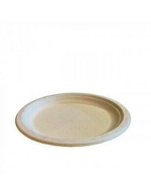 Bagasse bord 26cm Ø bruin Verpakt per 50 stuks