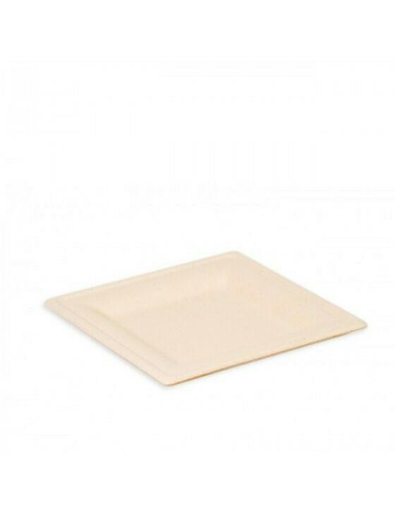 """Bagasse bord """"Karo"""" 200x200x15mm bruin Verpakt per 50 stuks"""