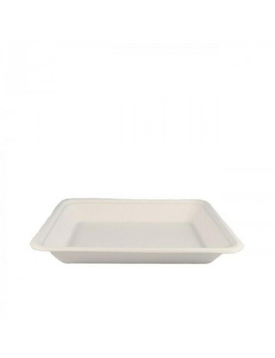 Bagasse tray 196x147x27mm Verpakt per 50 stuks