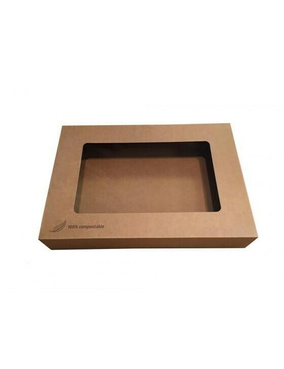 Kraft cateringdoos met PLA venster 36x25x8cm Verpakt per 10 stuks