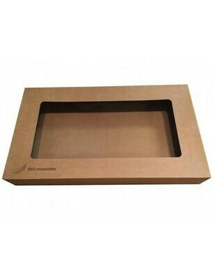 Kraft cateringdoos met PLA venster 56x38x8cm Verpakt per 10 stuks