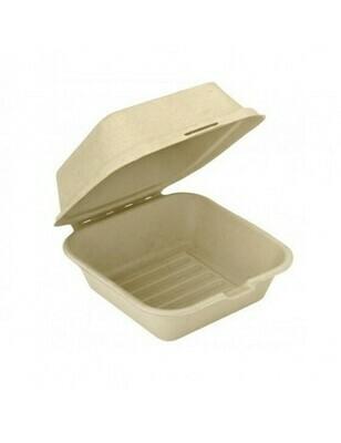 Bagasse hamburgerbox 450ml/150x150x84mm bruin Verpakt per 50 stuks