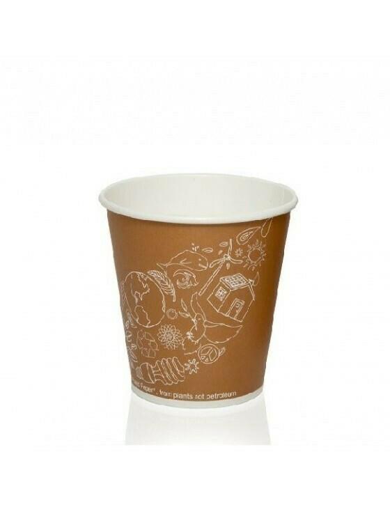 FSC® karton/PLA koffiebeker 8oz/240ml/80mmØ Leaf Verpakt per 50 stuks