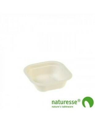 Bagasse maaltijdbak wit 240ml/130x130x42mm Verpakt per 125 stuks