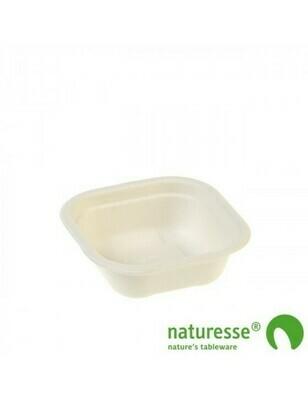 Bagasse maaltijdbak wit 350ml/130x130x59mm Verpakt per 125 stuks