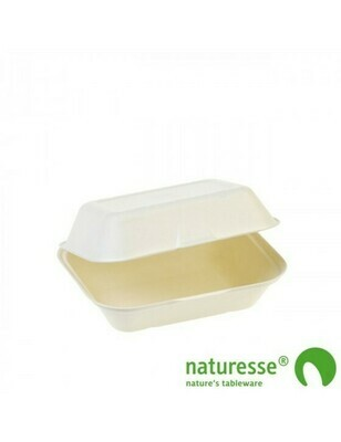 Bagasse 1-vaks menubox medium 540ml/185x140x74mm Verpakt 125 stuks