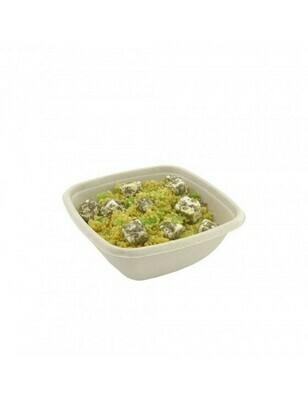 Bagasse maaltijdbak bruin, vierkant 375ml/130x130x52mm, verpakt 50 stuks
