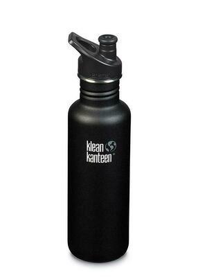Drinkfles Klean Kanteen Classic 27oz/800ml, zwart gecoat.