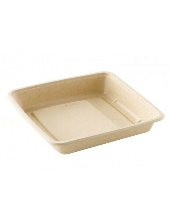 Bagasse box 1000ml/223x223x28mm bruin Verpakt 75 stuks