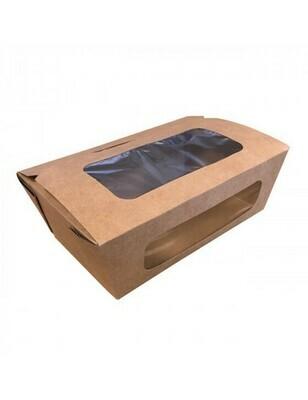 FSC® kraft/PLA coated lunchbox+venster 16x10x6cm Verpakt per 50 stuks