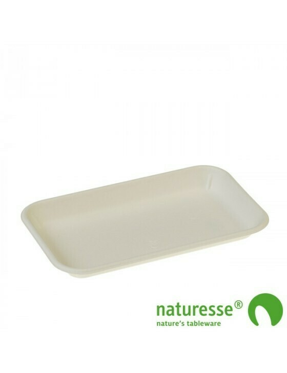 Bagasse fruittray wit 225x136x22mm 3505 Verpakt per 1000 stuks