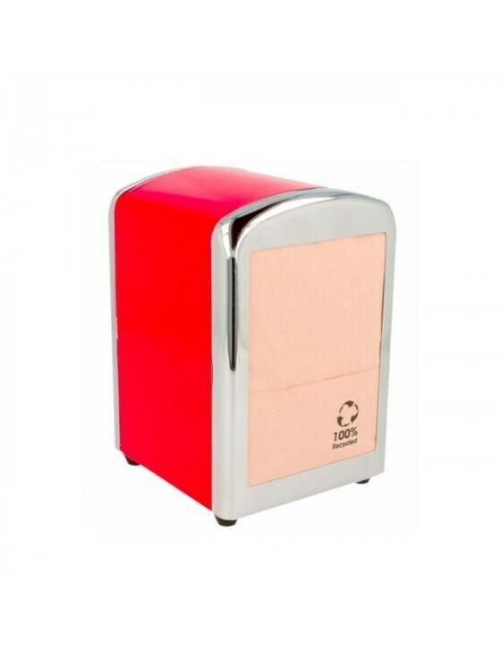 Servet dispenser voor mini servet rood RVS Verpakt per 1 stuk