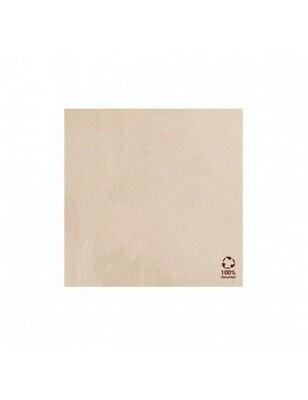 Servet gerecycled/ongebleekt 20x20cm ¼ vouw DP Verpakt per 50 stuk