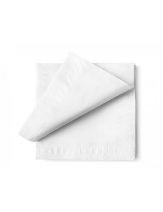 Servet ecolabel 33x33cm ¼ vouw 2-laags wit Verpakt per 2400 stuk