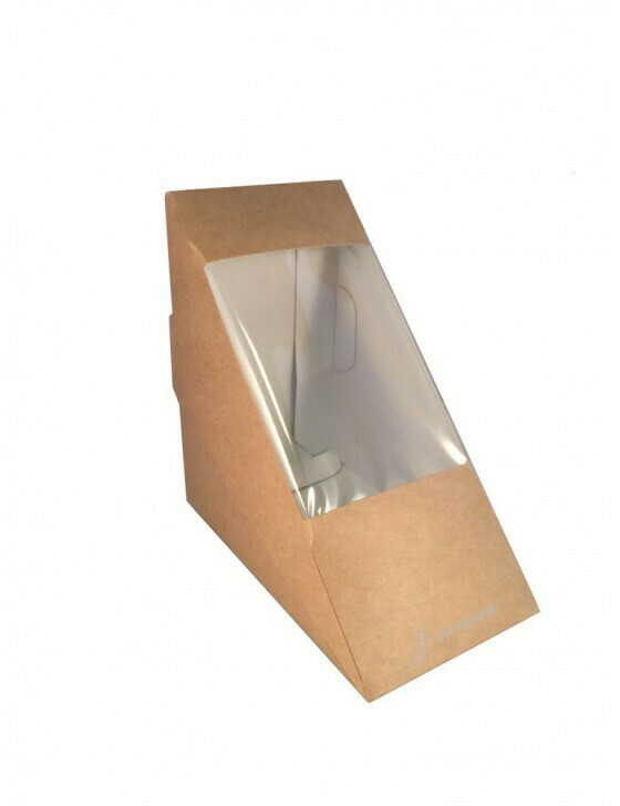 FSC® Kraft/PLA sandwichbox 123x123x72mm Verpakt per 500 stuks