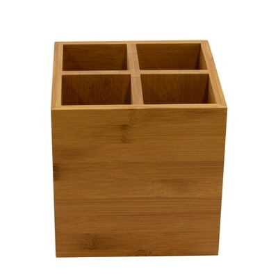 Bamboe bestekhouder 15x15x15cm 4-vaks Verpakt per 1 stuk