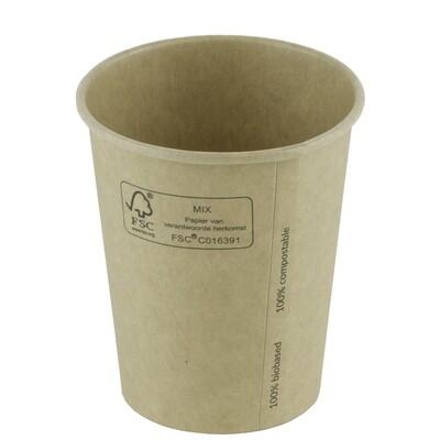 FSC® kraft/PLA koffiebeker 7oz/210ml/73mm Ø Verpakt per 2000 stuks