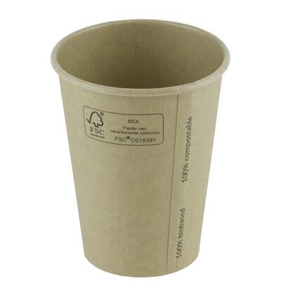 FSC® kraft/PLA koffiebeker 8oz/240ml/80mm Ø Verpakt per 1000 stuks