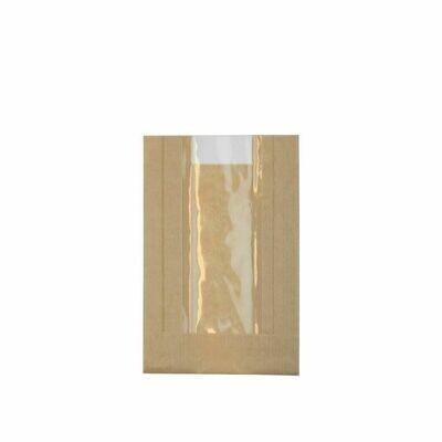 Kraft/PLA vensterzak 10x14,5x(2x3)cm Verpakt per 1000 stuks