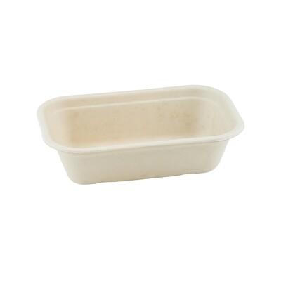 Bagasse maaltijdbak bruin 500ml/205x130x45mm bruin, verpakt per 125 stuks