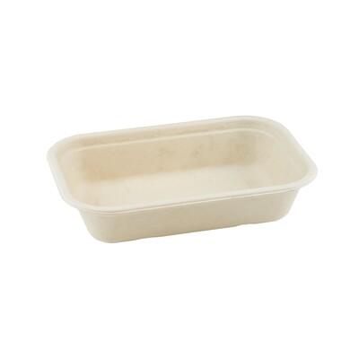 Bagasse maaltijdbak bruin 850ml/22,9x15,3x5cm  Verpakt per 250 stuks