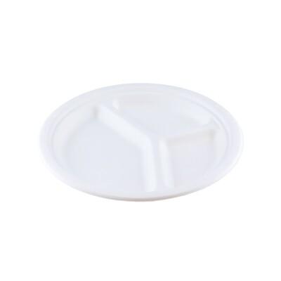 Bagasse bord 23cm Ø 3-vaks Verpakt per 50 stuks