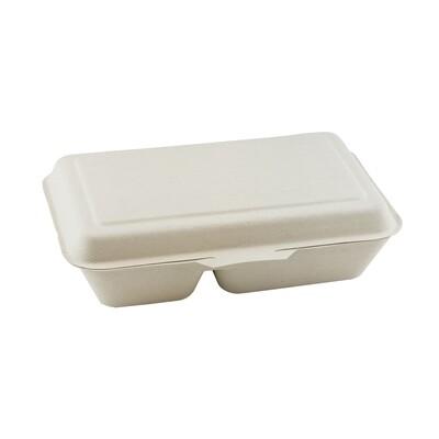 Bagasse menubox 24x16x6cm/1000ml bruin 2-vaks Verpakt 50 stuks